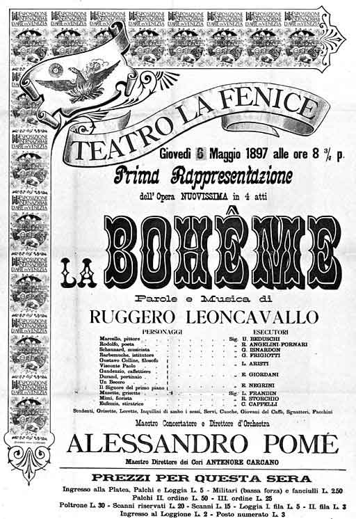 La Bohème by Leoncavallo - poster for the 1897 premiere