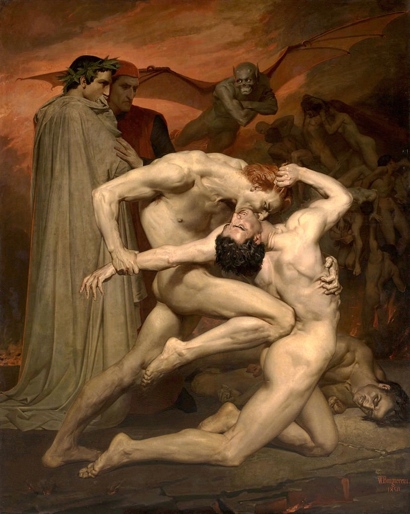 William Bouguereau - Dante and Virgile in hell:  Gianni Schicchi bites his rival Capocchio